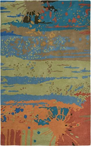 Rizzy Home Volare Collection Wool Area Rug, 8 x 10 , Multi Blue Orange Rust Graphic