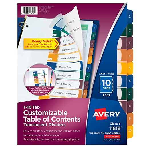 Avery 10 Tab Template. use avery templates in word word. free ...