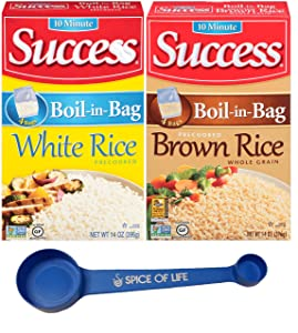Success Rice, Boil-In-Bag White and Brown Rice, One 14oz Box of Each with Spice of Life 4-in-1 Measuring Spoon