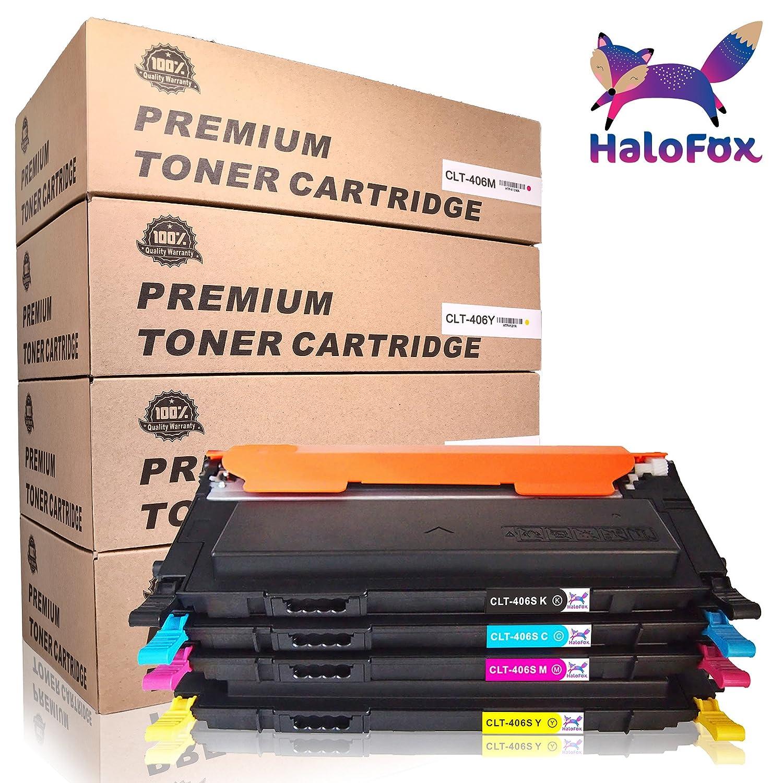 Un set di CLT-P406C (CLT-K406S, CLT-C406S, CLT-M406S, CLT-Y406S) cartucce di toner per Samsung Xpress SL-C460FW SL-C460W SL-C410FW SL-C410W SL-C467W CLX-3305FN CLX-3305FW CLX-3305N CLX-3305W CLP-360N HaloFox