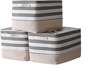 TheWarmHome Jumbo Storage Bins Baskets for Organizing, Sturdy Fabric Storage Basket W/Handles, Decorative Foldable Storage Baskets for Shelves Closet Nursery Toy (3 Pack 20.5L×15.7W×13.8H inch).