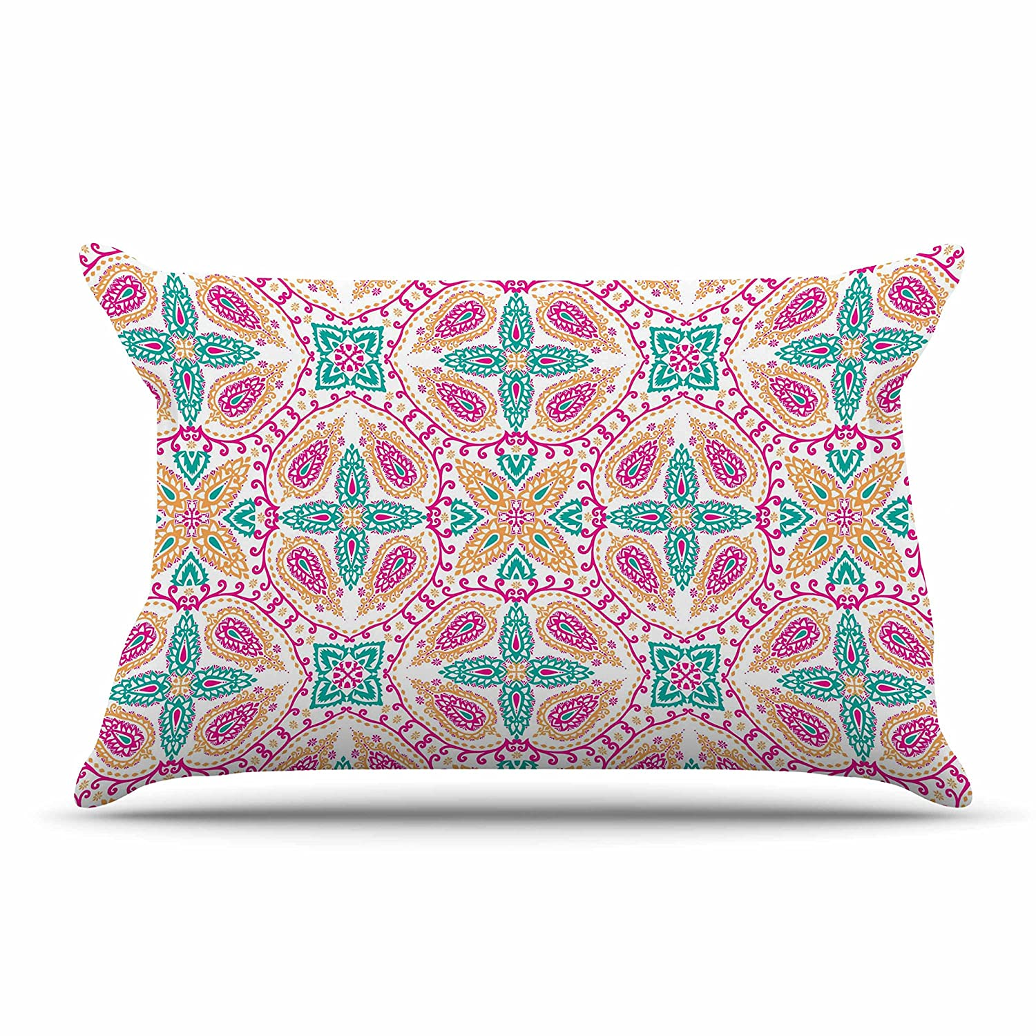 Kess InHouse Nandita Singh Boho in Multicolor Pink Abstract King Pillow Case, 36 by 20-Inch, 36' X 20'
