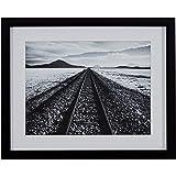 "Amazon Brand – Rivet Black and White Desert Railroad Tracks Photography Wall Art Print, Black frame, 15"" x 13"""