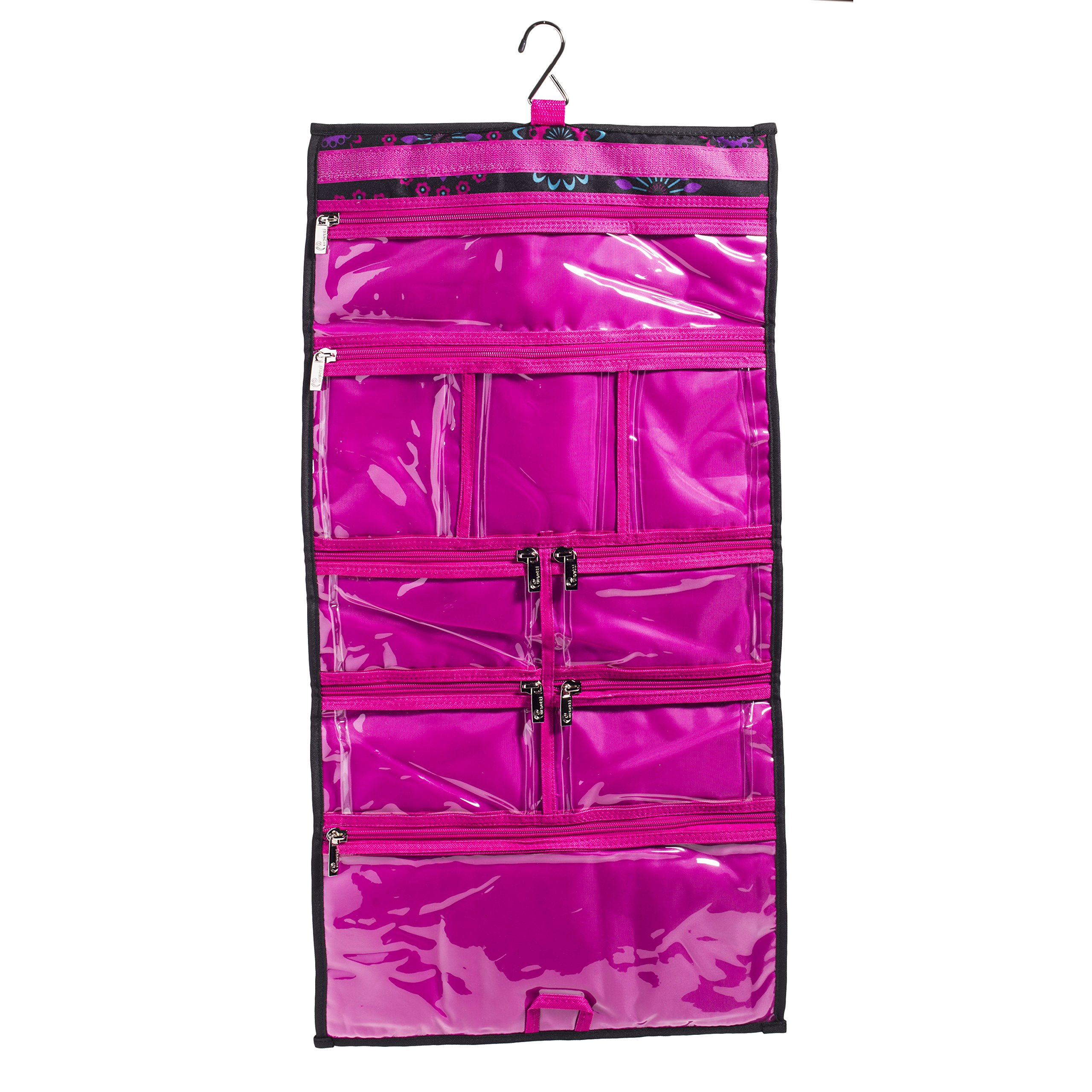 Hanging Travel Organizer, 9 Large Clear Zipper Pockets for Makeup, Toiletry, Cosmetics, Underwear, Jewelry, Lingerie Holder Bag for Women - Closet, Wall or Door (Purple Circle)