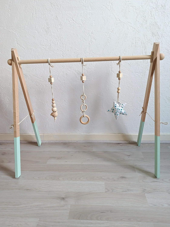 Portique d'éveil arche d'activités Montessori en bois de hêtre modèle vert d'eau étoile