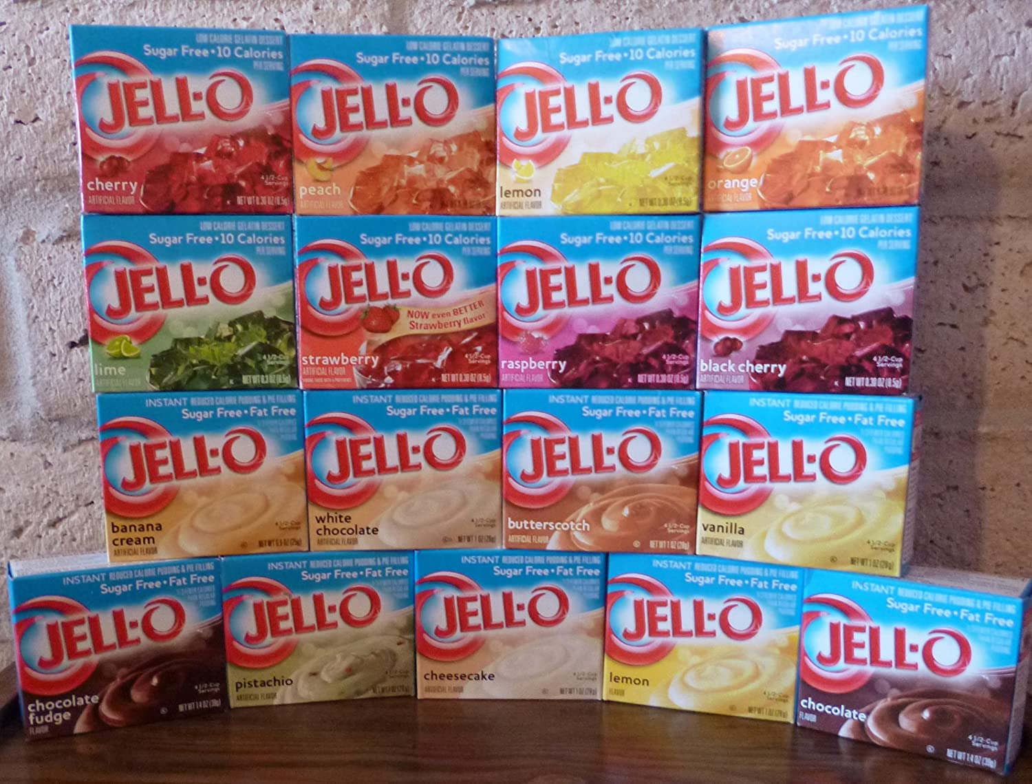 Jell-O Sugar Free Instant Pudding and Gelatin Sampler (Pack of 17 Different Flavors .3-1.4oz)