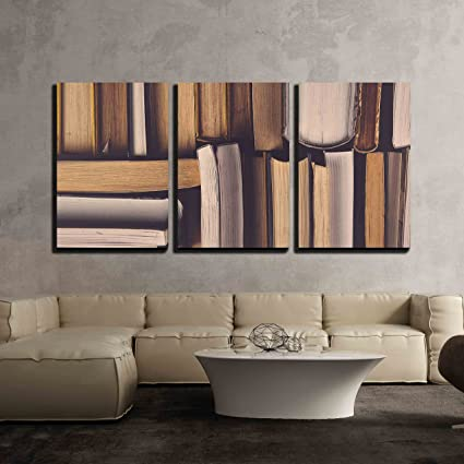 Amazon.com: wall26 - 3 Piece Canvas Wall Art - Stack of Used Old ...