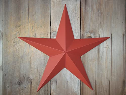Heavy Duty Metal Star 24 Painted Solid Barn Red. These Metal Stars Are a Great Addition to Your Home Decor. You Will Not Be Disappointed with the Quality and Workmanship on These Barn Stars. They Are Handcrafted Out of 22 Gauge Galvanized Steel and Will Not Rust. Add a Barnstar to Your Home Decor Today.