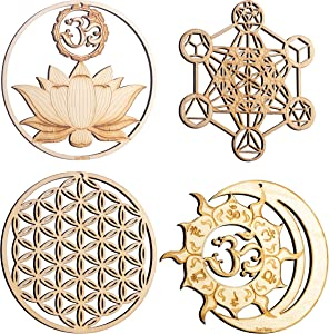 "ZenVizion 5.31"" Sacred Geometry Set 5, Sacred Lotus, Metatron's Cube, Flower of Life, Sun and Moon Union Om Wall Art, Home Decor, Yoga Hanging Symbol, Laser Cut Wooden Wall Sculpture, Car Hanger"