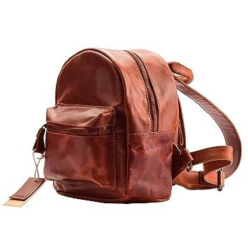 37696ef42b Amazon.com  Women s Genuine Leather Mini Backpack Vintage Looking  HandcraftedCollege Bag Small School Bag for Girls  Deeya Bags