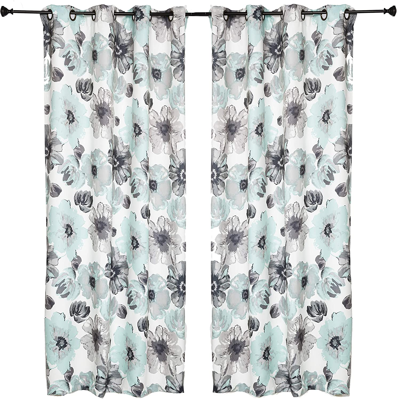 "Set of 2 Grommet Floral 52"" W x 108"" L (104"" Total Width) Decorative Window Curtain Panels, White/Aquamarine Green/ Gray Room Darkening Soft / Heavy Panels for Living Room/Bedroom, Lily 108"" Aqua"