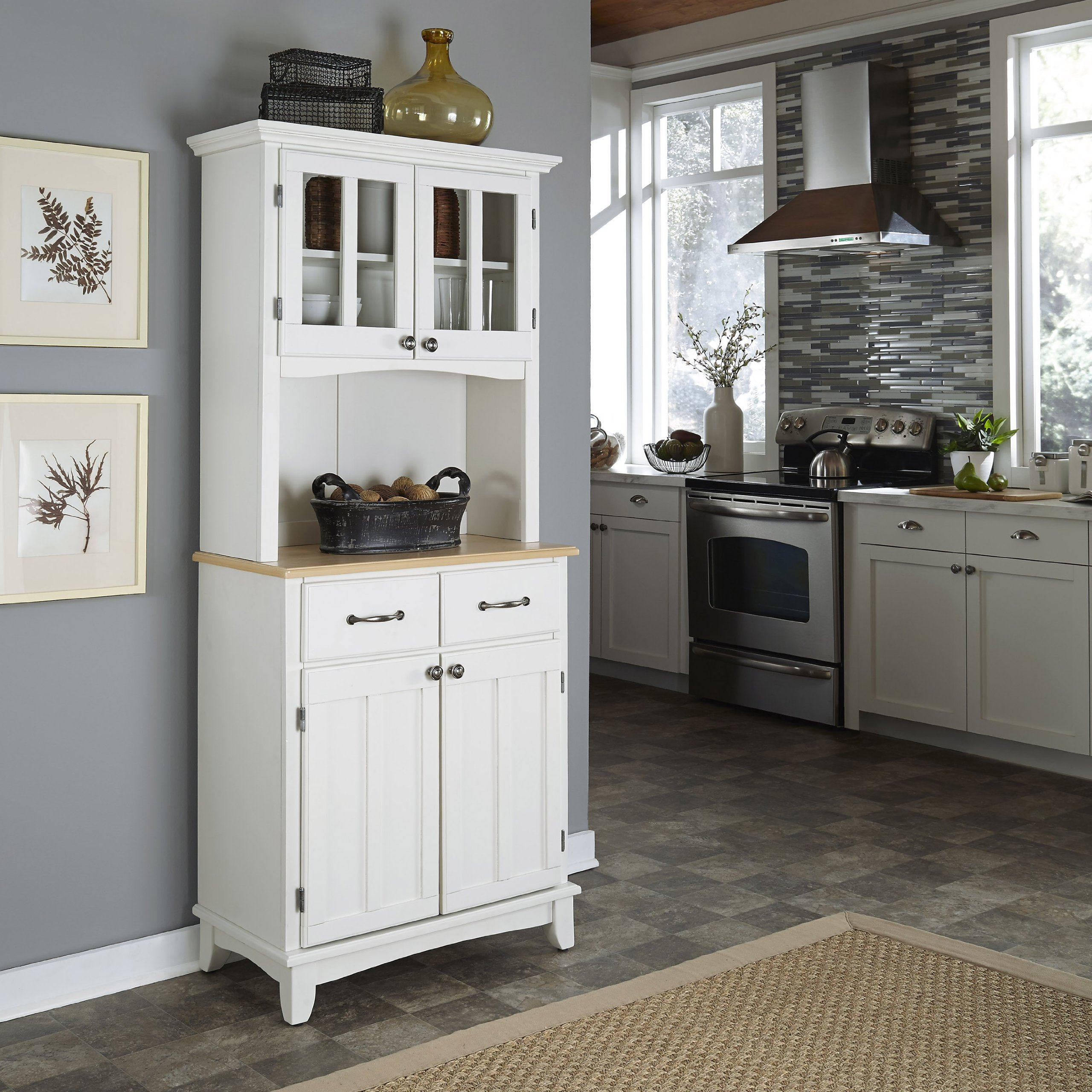Buffet of Buffet White with Wood Top with Buffet by Home Styles by Home Styles (Image #2)