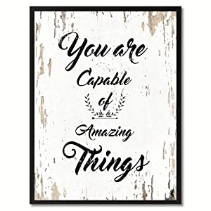 "SpotColorArt""You are Capable of Amazing Things Canvas Print 13"" x 17"" White"