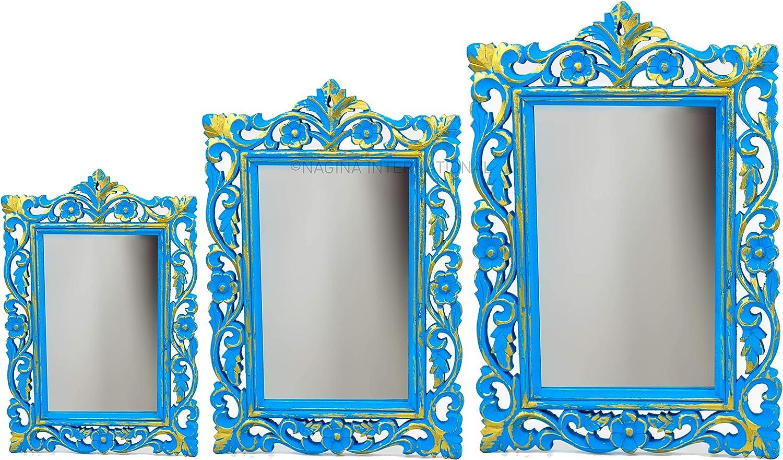 Nagina International Set of 3 Rustic Blue Decorative Wall Mirror   Hand Carved & Stylish Wooden Mirror Frame