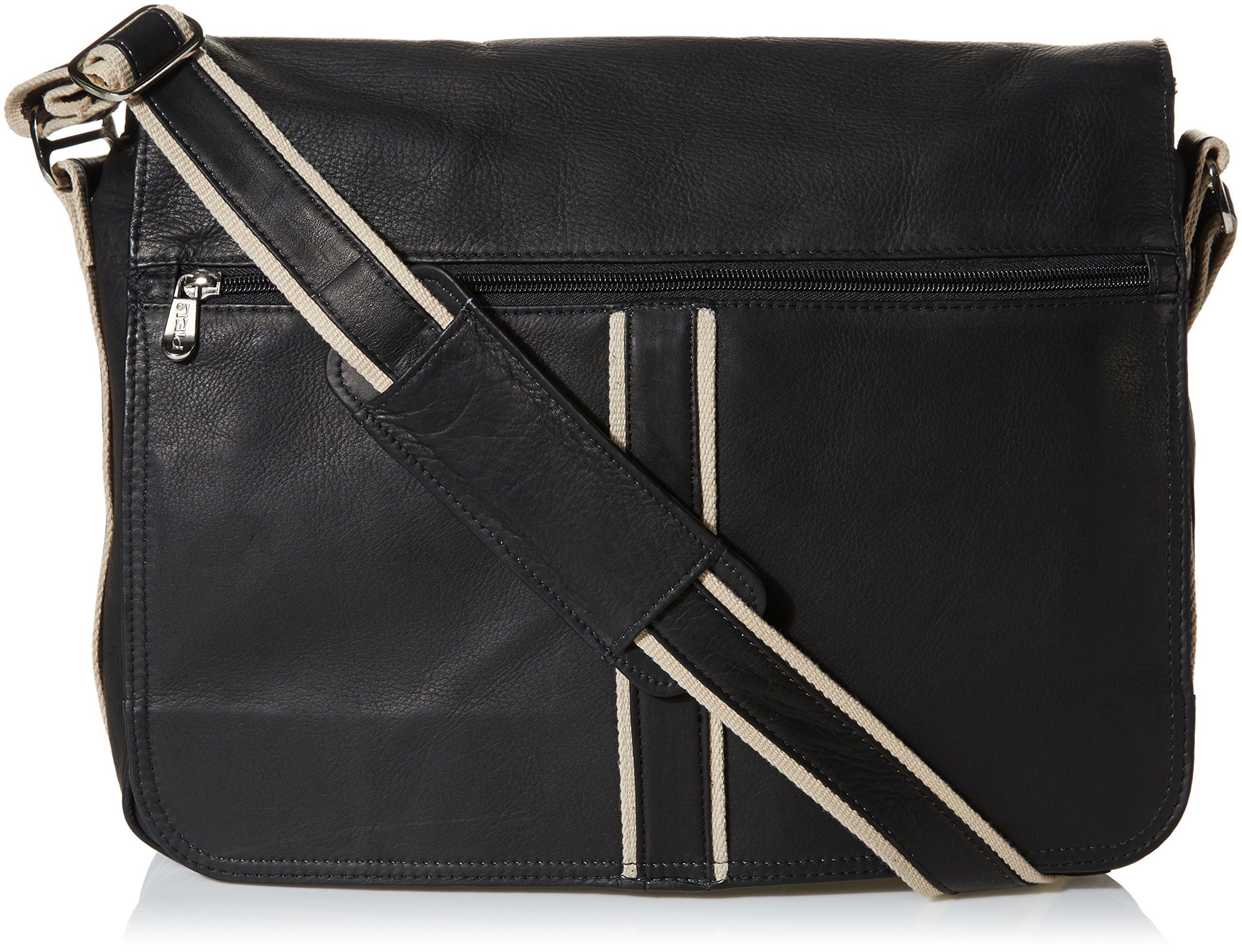 Piel Leather Four-Section Urban Messenger, Black, One Size by Piel Leather