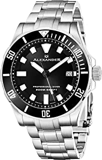 9af4f09d9a1 Alexander Professional Diver Watch Mens Black Face Sapphire Crystal 200M  Waterproof - Swiss Made Analog Quartz