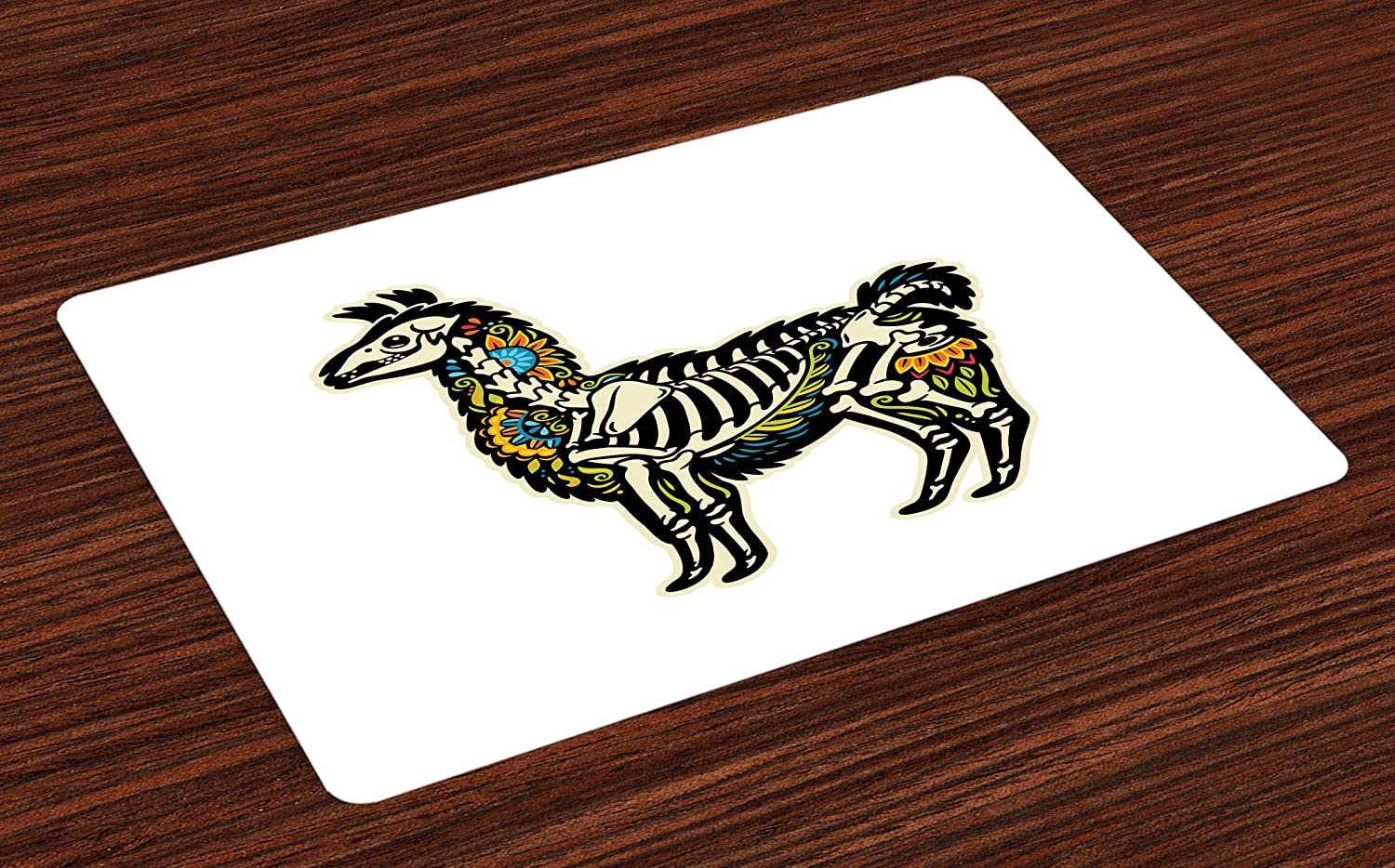 Ambesonne Llama Place Mats Set of 4, Sugar Skull Style Alpaca Animal Skeleton and Colorful Floral Details Day of The Dead, Washable Fabric Placemats for Dining Table, Standard Size, Beige Black