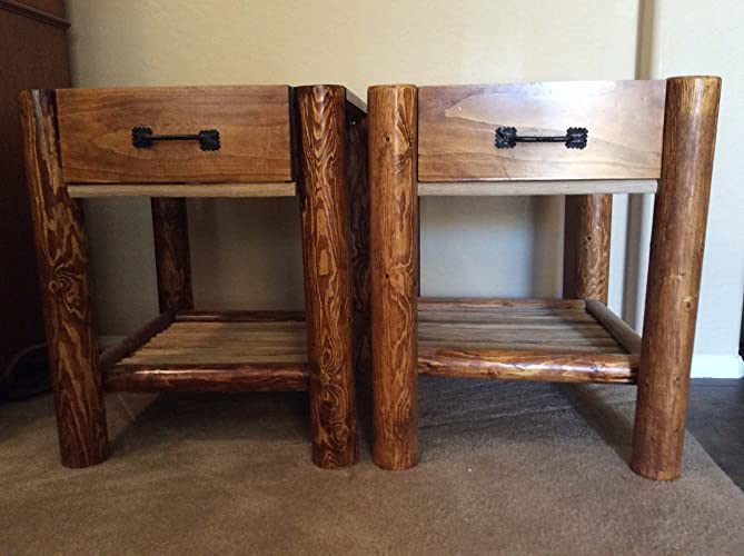 Lodge Pole Nightstands W/ Saguaro Rib Shelves