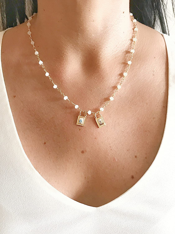 LESLIE BOULES Escapularios Cat licos White Crystal Bead Chain Miraculous Archangel Michael Scapular