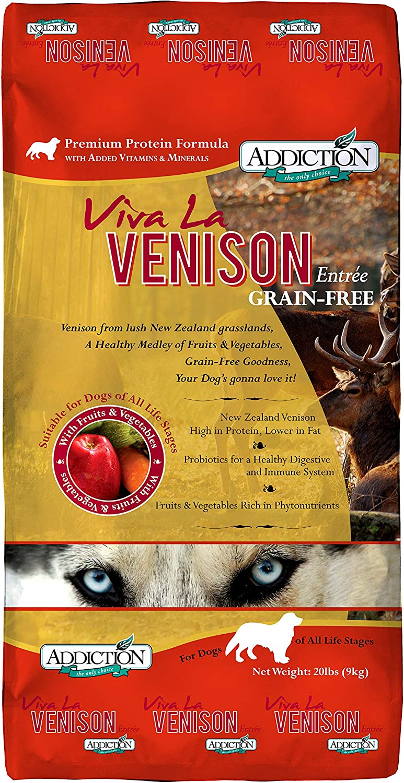 Addiction Viva La Venison Grain Free Dry Dog Food, 20 Lb.