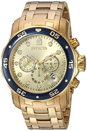 fcee2cc10e8 Image Unavailable. Image not available for. Color  Invicta Mens Pro Diver  Scuba Swiss Chronograph Champagne Dial 18k Gold Plated Watch 80068