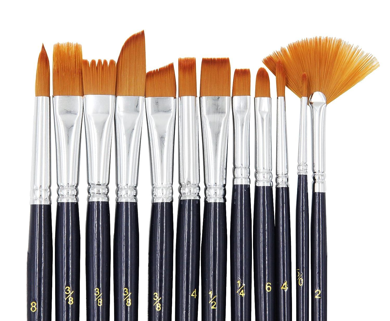 StarVast Paint Brushes, 12pcs Paint Brush Set for Watercolor/Oil/Acrylic/Crafts/Rock & Face Painting FBA_PB-LA-160901-12B-JP