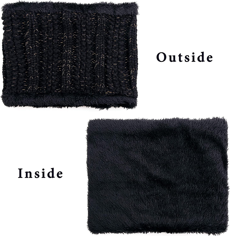 Leejooy Winter Hat Scarf Set Warm Knit Pom Beanie Hat Neck Warmer for Women 2-Piece Gift