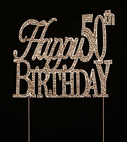 Happy 50th Birthday Cake Topper Party Decorations Silver 475 Inches Tall