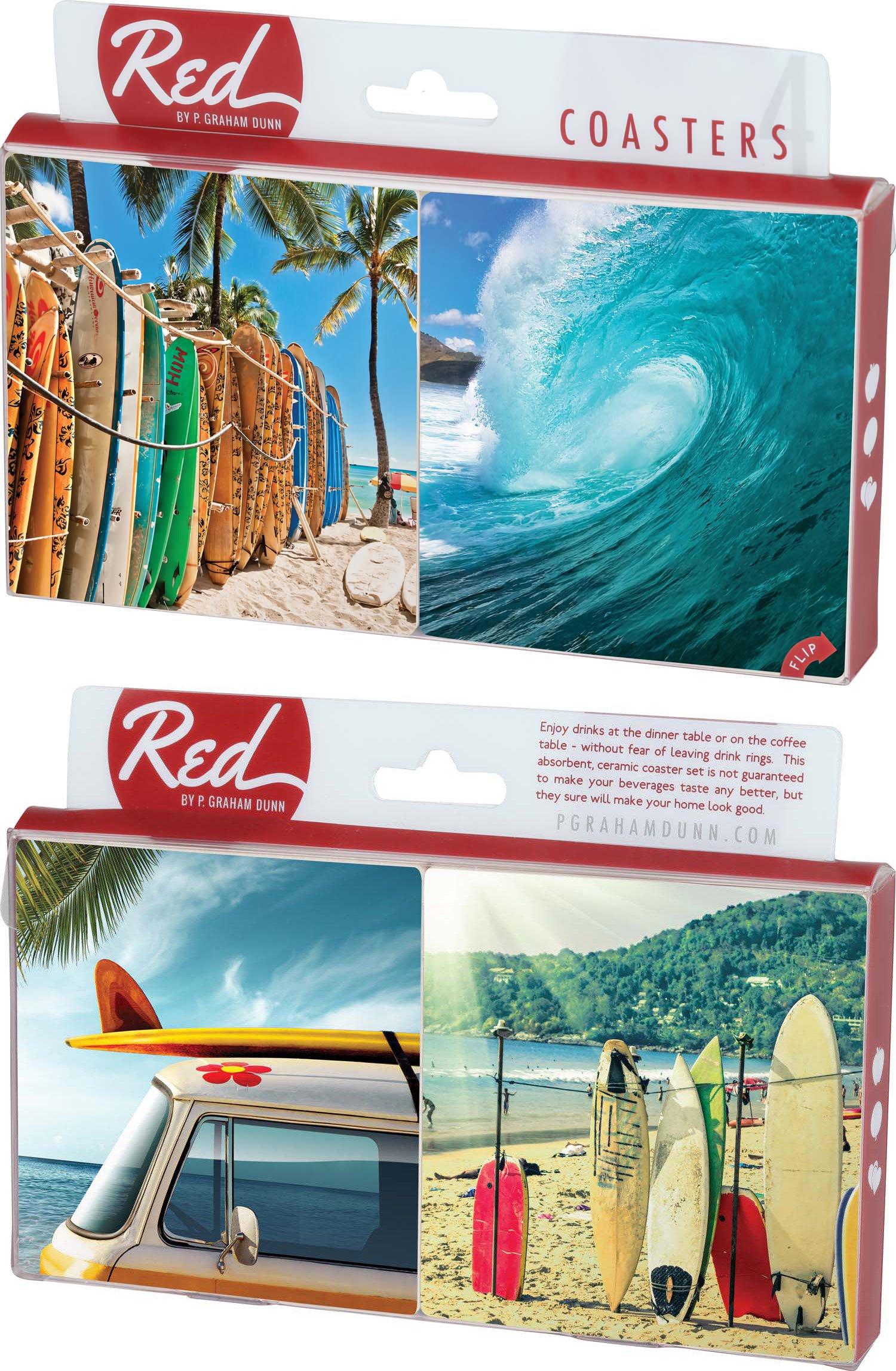 Ocean Surfboards 4 Piece Absorbent Ceramic Coaster Set