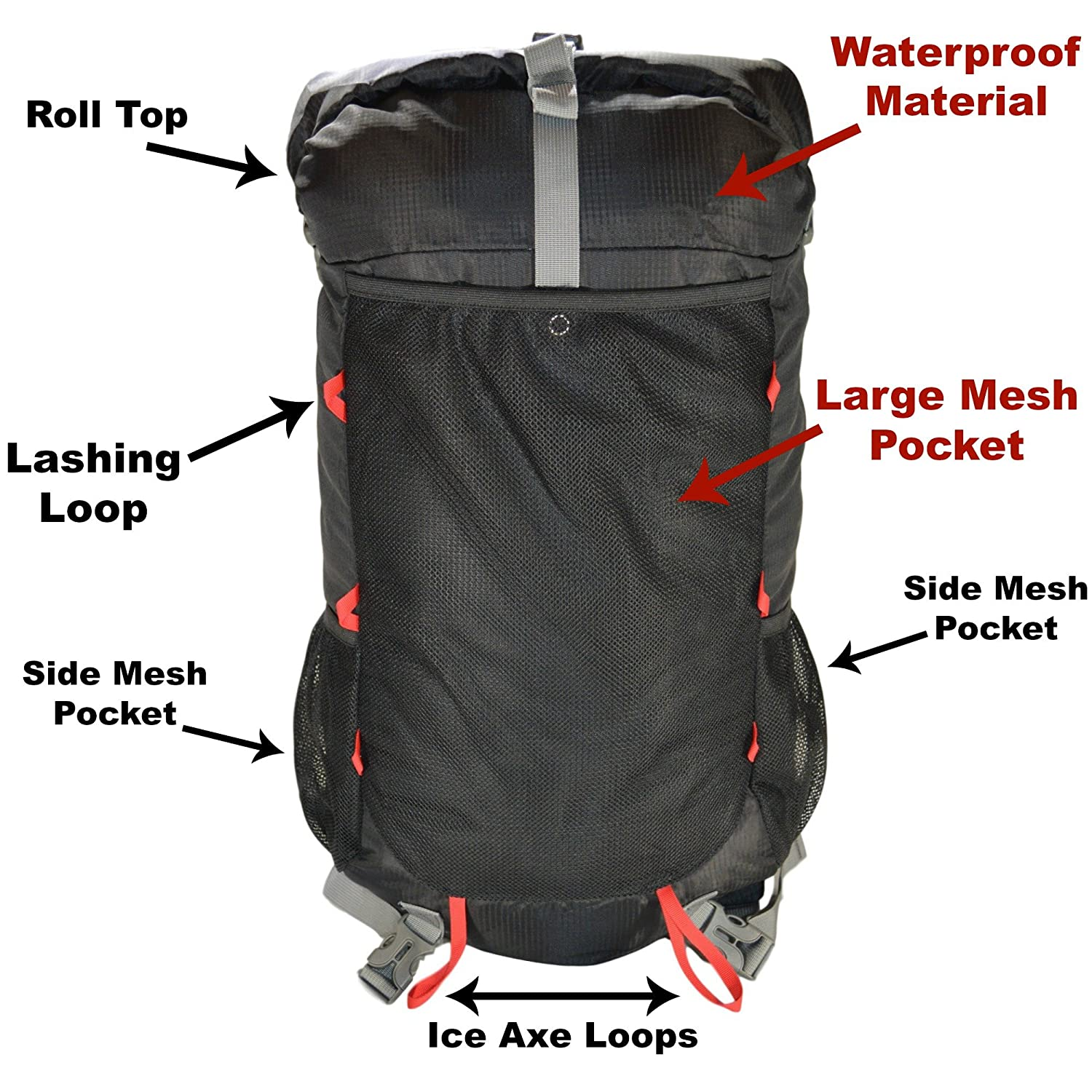 ... GoBackTrail Roll Top Black Backpack - Ultralight 25L - 40L with Removable  Internal Frame - Always The Right Size - Water Resistant - Comfortable for  Men ... 985515221119f