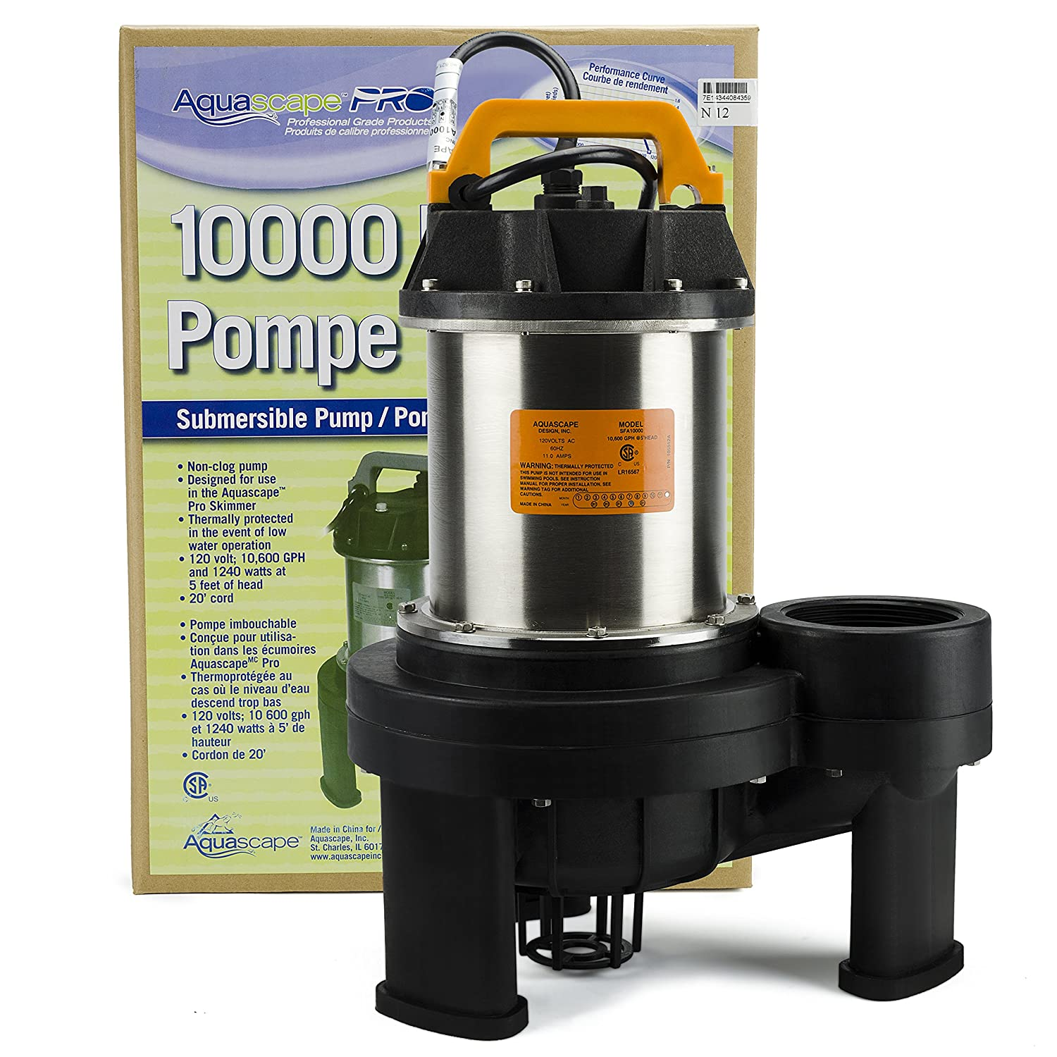 Amazon.com : Aquascape 20006 AquascapePRO 10000 Submersible Pump For Ponds,  Skimmer Filters, And Pondless Waterfalls, 10, 600 GPH : Fountain Pumps :  Garden ...