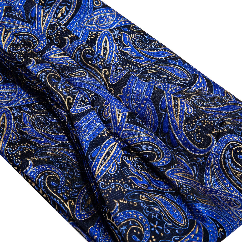 Barry.Wang Mens Silk Ascot Paisley Woven Paisley Cravat Tie Pocket Square Cufflinks Set