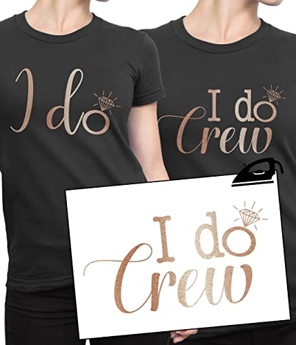 8adfccf06 I DO CREW Hen Party Iron On T Shirt Transfer Bride To Be Tribe Squad Hen  Rose Gold VINYL: Amazon.co.uk: Handmade