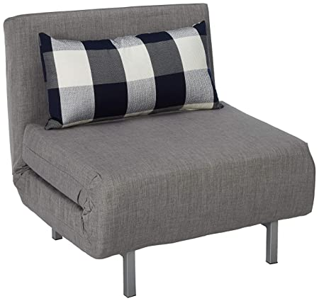 Cortesi Home Savion Grey Convertible Accent Chair Bed