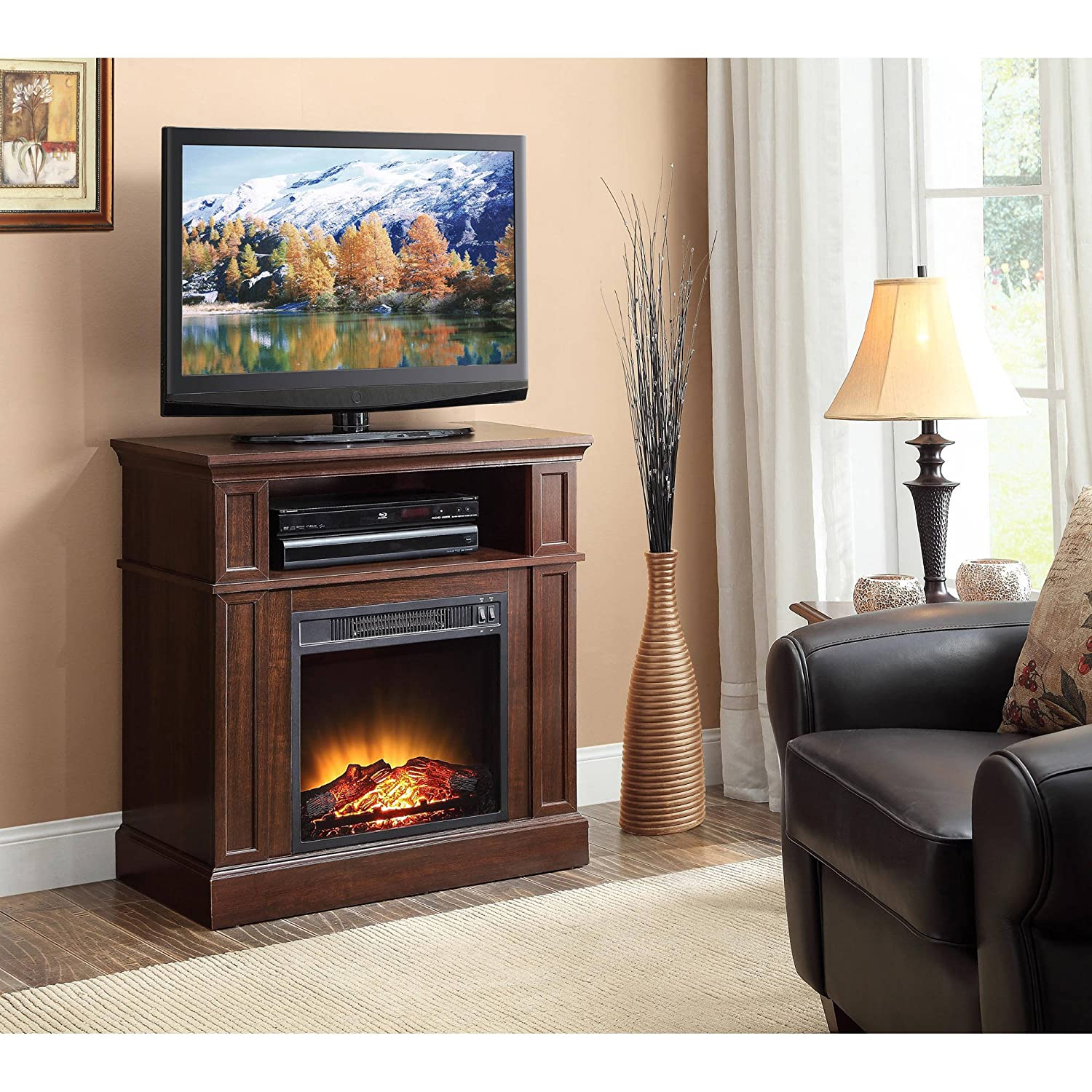 "Amazon.com: 31"" Mainstays Media Fireplace Heater for TV"