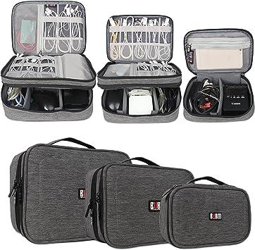 BUBM Estuches para Cables Bolsa para Aparato Electronico 3 Piezas para Guardar Memorias de USB Bolso de Ordenados Baterias Gadgets Mochilas de Cargador iPad/iPad Mini, Gris: Amazon.es: Electrónica