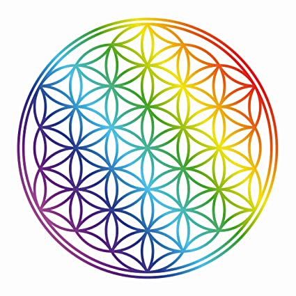 Ventana Adhesivo De La Flor De La Vida Arco Iris Color Círculos