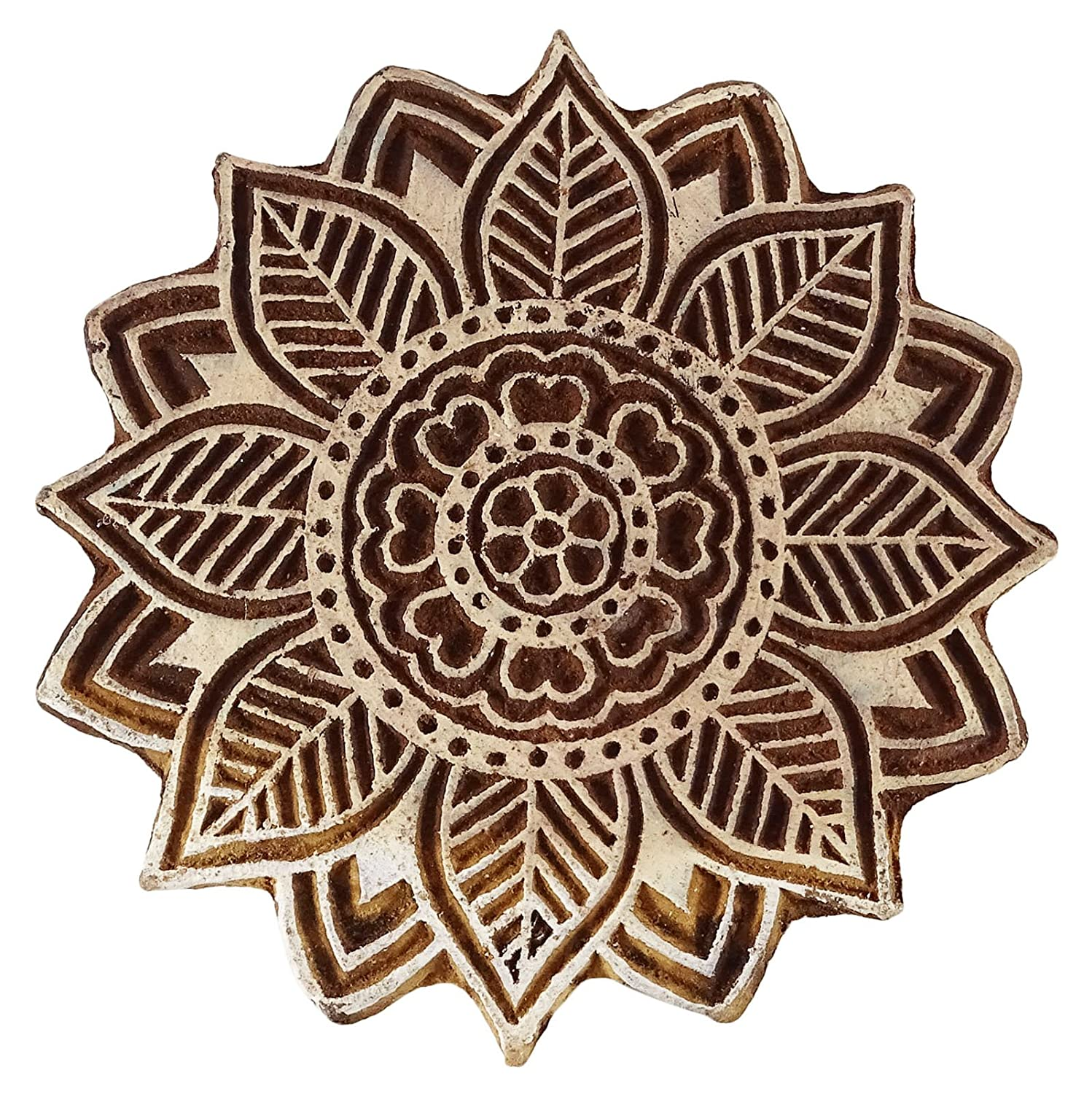 Decorative Blocks Floral Indian Wood Stamps Handmade Stamps For Clay Indianbeautifulart
