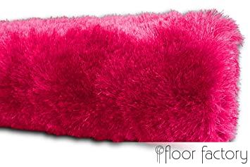 Teppich pink  Exklusiver Hochflor Shaggy Teppich Satin rosa/pink 10x10 cm Muster ...