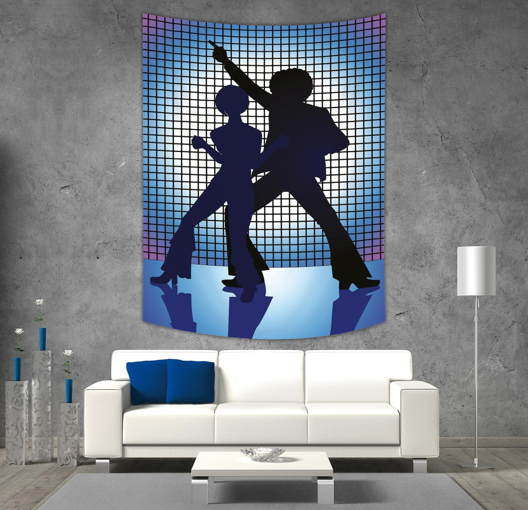 iPrint Polyester Tapestry Wall Hanging,70s Party Decorations,Couple Silhouettes on the Dance Floor Night Life Oldies Fun,Blue Purple Black,Wall Decor for Bedroom Living Room Dorm