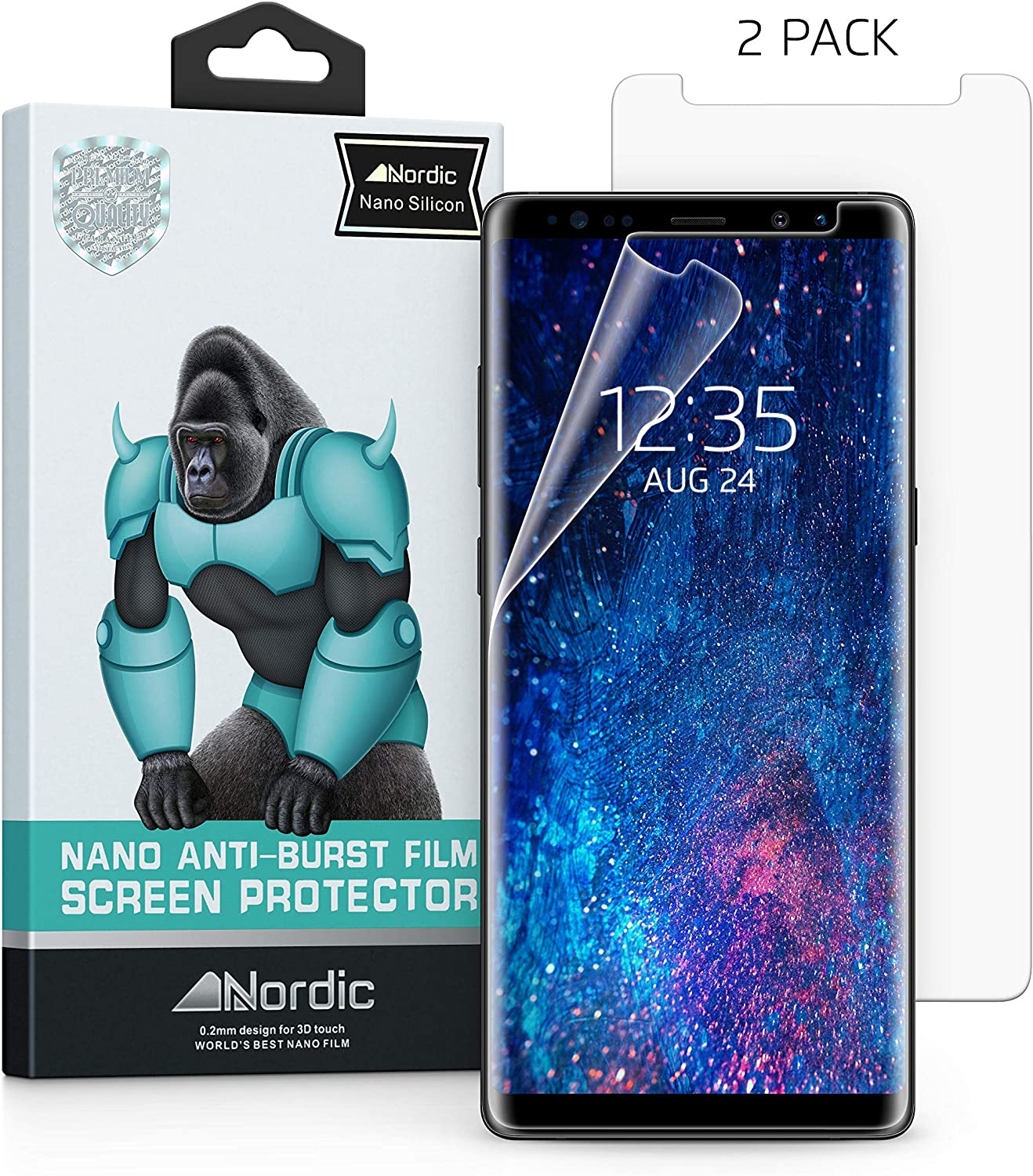 N2 Galaxy Note 8 Screen Protector, 2Packs Tempered Glass Screen Protector 3D Curved//HD Clarity//Case Friendly for Galaxy Note 8 Easy Bubble-Free Installation