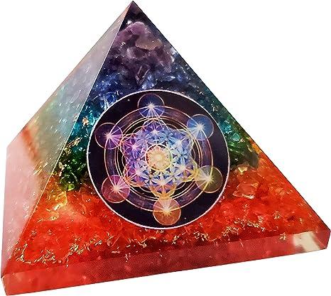 7 Chakra Orgonite Pyramid Energy Healing Crystals and Stones Emf Protection Pyramid Yoga Meditation Energy Generator Chakra Crystals with Chakra Guide Real Crystal Seven Chakra Orgone Pyramid