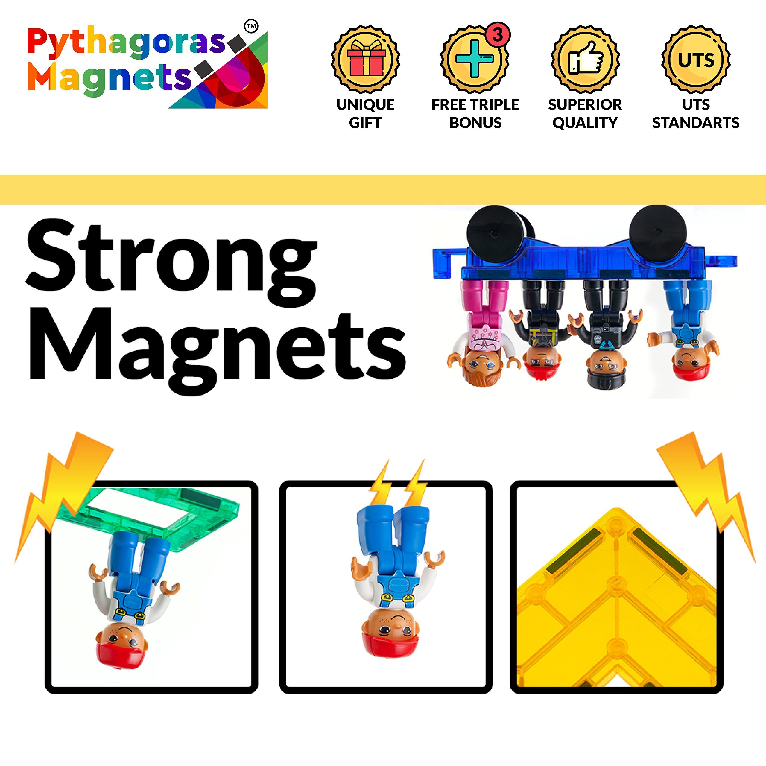 Magnetic Figures Set of 4-Toddlers Community Action Toy People, Magnetic Tiles Expansion Pack for Boys and Girls - Nurse, Builder, Fireman, Police Educational STEM Toys Add on Sets for Magnetic Blocks by Pythagoras Magnets (Image #7)