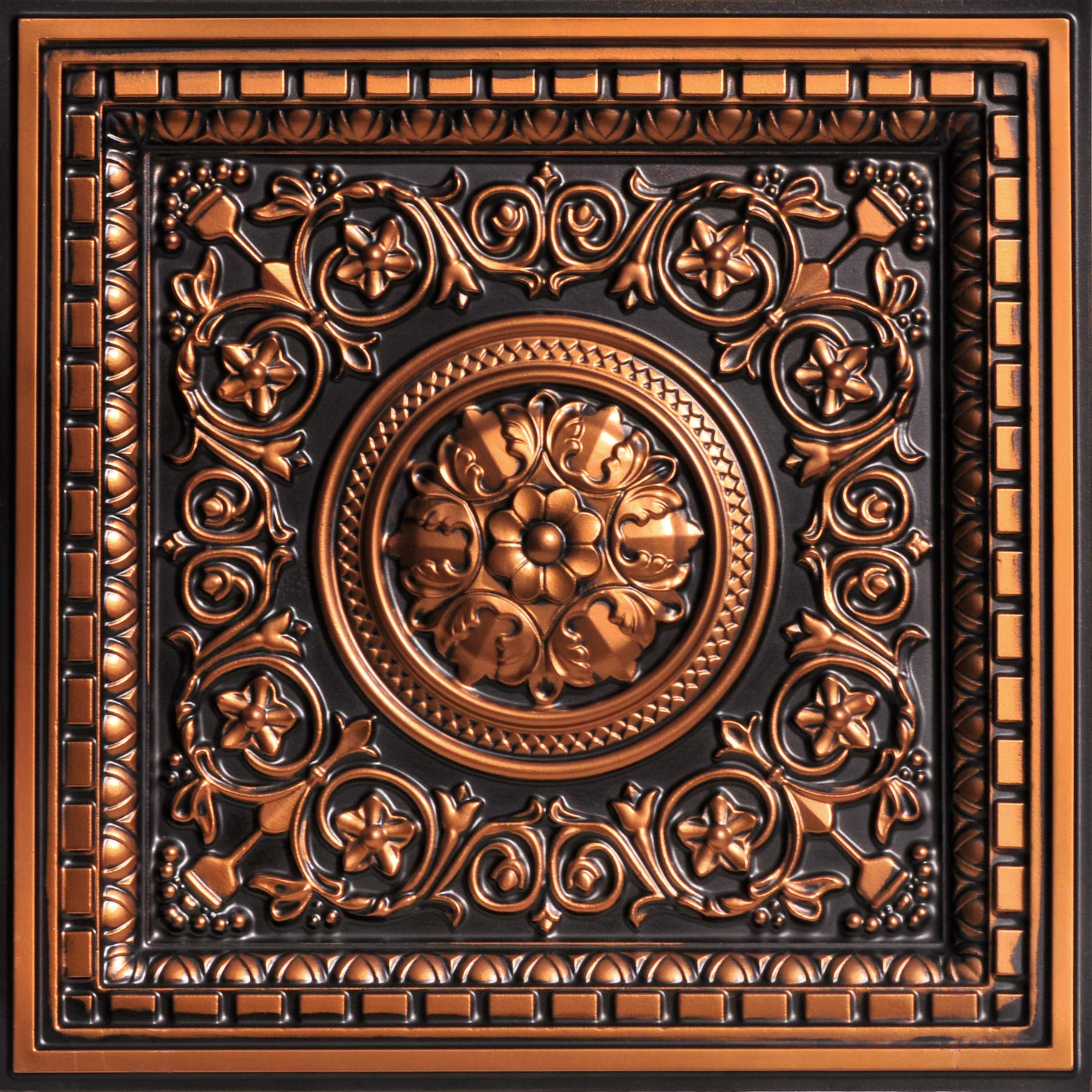 From Plain To Beautiful In Hours VC02ac-24x24-25 Rhine Valley Ceiling Tile Antique Copper 25