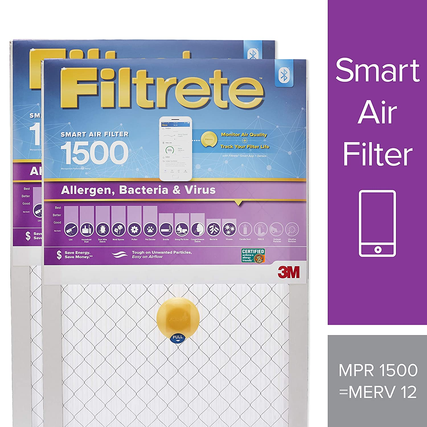 Filtrete 20x25x1 Smart Air Filter, MPR 1500, Allergen, Bacteria & Virus AC Furnace Air Filter,