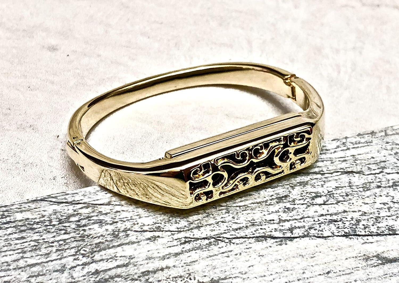 B07JFP4JWK Gold Jewelry Bangle for Fitbit Flex 2 Band for Women Handmade Metal Bracelet Replacement Fitbit Flex 2 Band Unique Design Holder Fashion Luxury Women Fitbit Flex 2 Bracelet 91n-G06h8AL