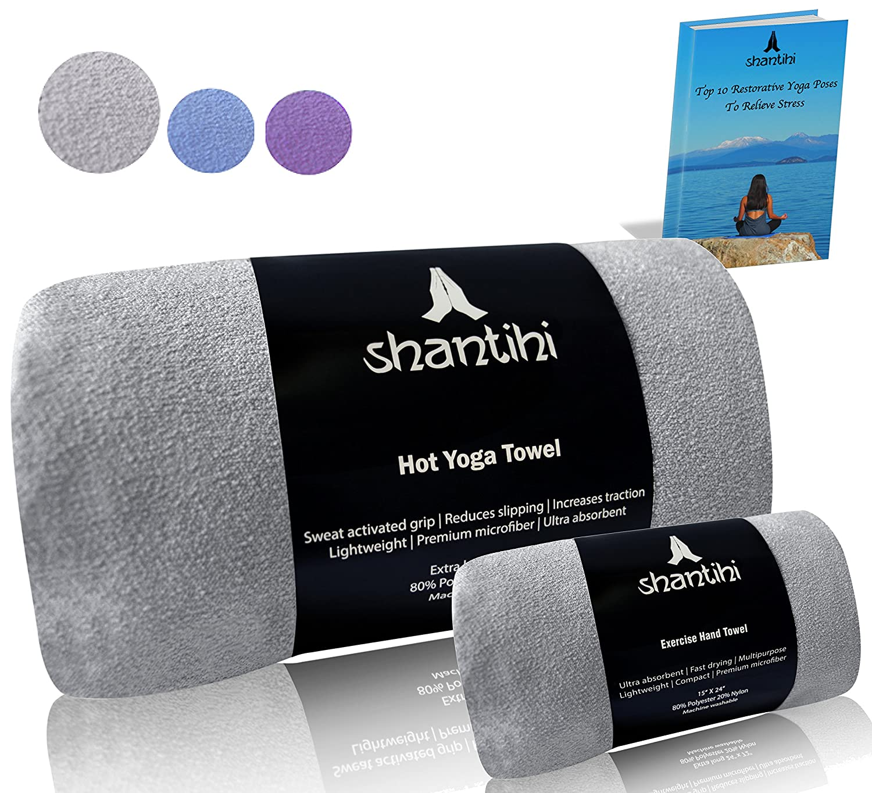 Shantihi Hot Yoga Mat Towel or/and Travel Gym Workout Exercise Hand Towel - Best Premium Sports Yoga Accessories. Quick Dry Non Slip Microfiber, Absorbent, Lightweight Shantihi Yoga