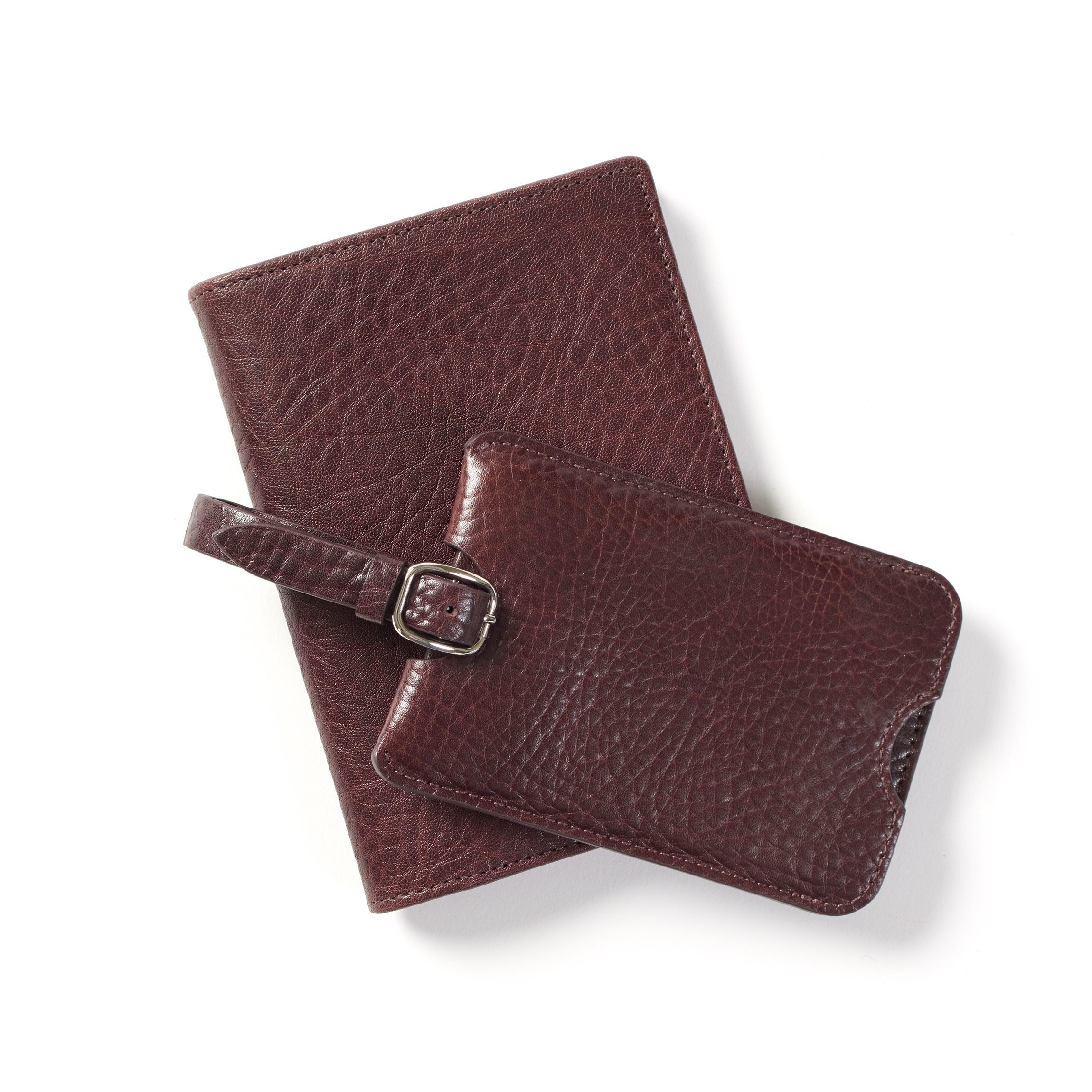 Deluxe Passport Cover + Luggage Tag Set - Italian Leather - Espresso (brown) by Leatherology