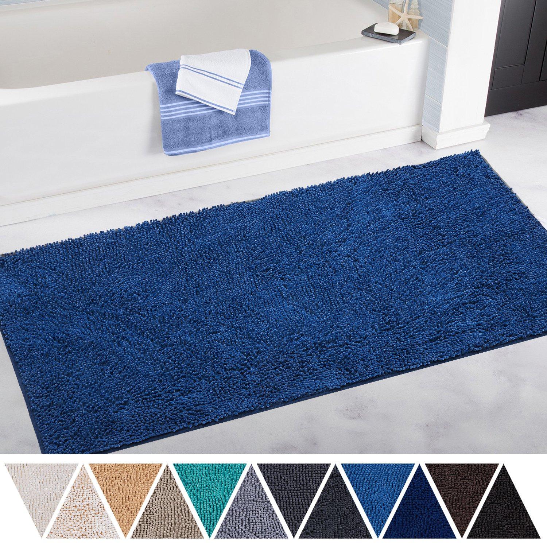 DEARTOWN 27.5x47 Inch Bathroom Rug Shag Shower Mat, Non-Slip Thick Bath Mat Made of Soft Chenille Microfiber, Machine Washable - Blue