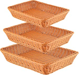 FAATCOI 3 PCs Poly-Wicker Bread Basket, Handmade Woven Pantry Organizer in S/M/L-Size, Tabletop Food Container Serving Baskets for Bread Snacks Cake Fruits Vegetables in Restaurant Hotel Home, Brown